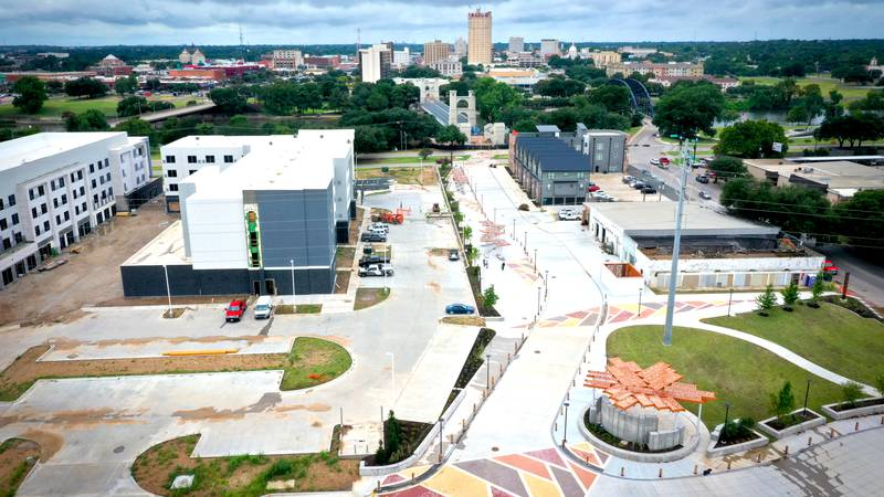 This photo from August 2021 shows the Bridge Street Plaza area. Construction began in 2019.