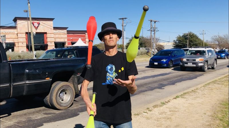 The COVID-19 shutdown has forced some performers, like circus juggler Casey Moore of Groesbeck,...