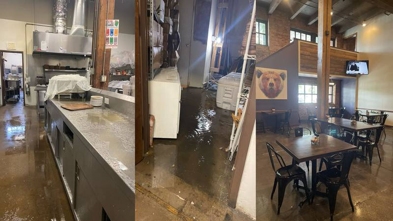 Water from burst pipes flooded the restaurant in February (left and center).  Repairs have been...