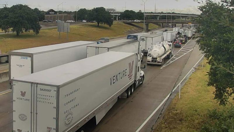 Flooding backed up traffic Wednesday afternoon on northbound Interstate 35 in Waco.