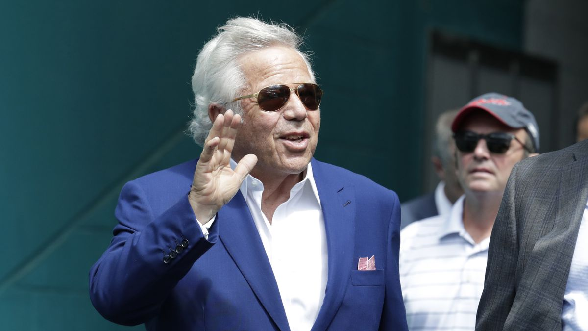 New England Patriots owner Robert Kraft gestures before an NFL football game against the Miami Dolphins, Sunday, Sept. 15, 2019, in Miami Gardens, Fla.