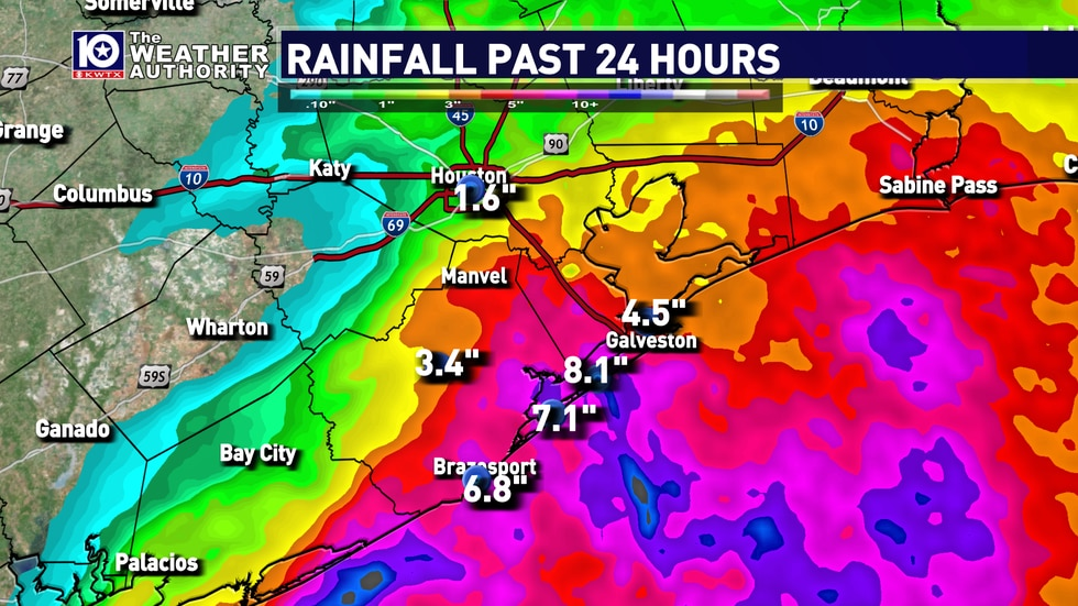 upwards of 8 inches fell along the coastline with hurricane Nicholas