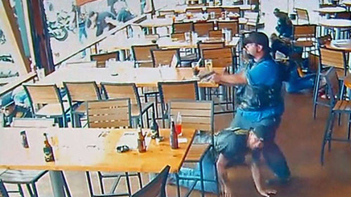 A frame grab of video from a surveillance camera on the patio of the restaurant obtained by CNN. (File)