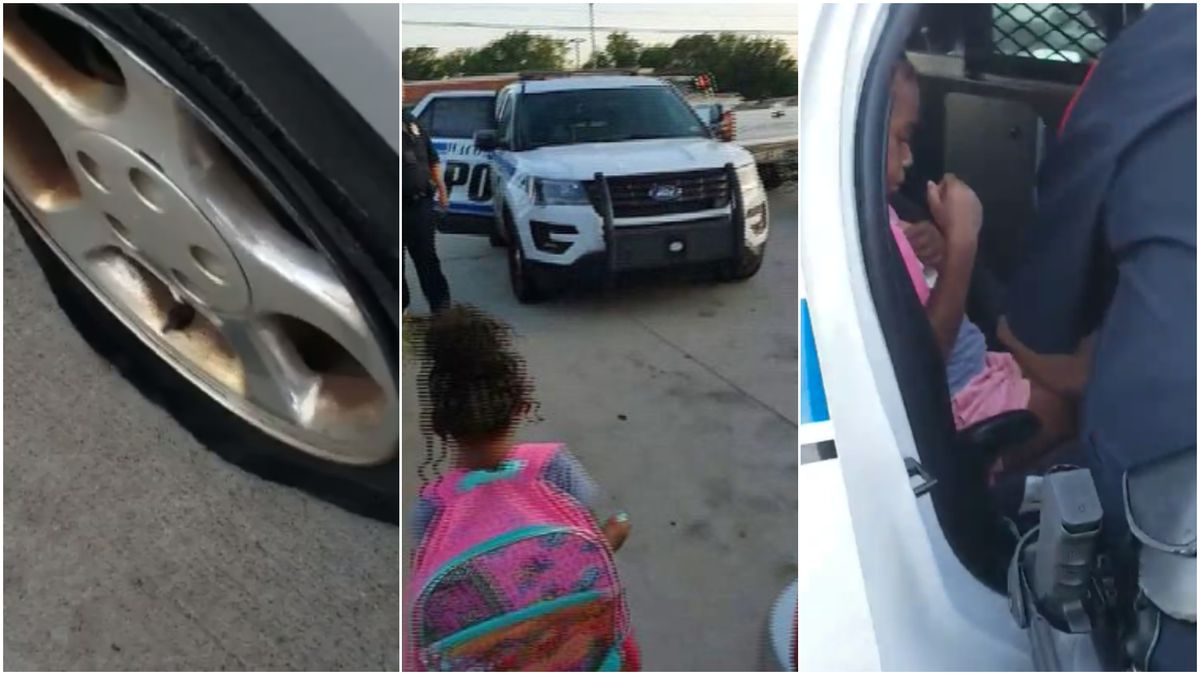 A video shot by a Central Texas woman after a local police officer stopped to help her with a...