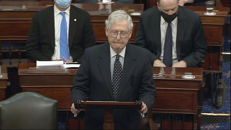 In this image from video, Senate Majority Leader Mitch McConnell of Ky., speaks as the Senate...