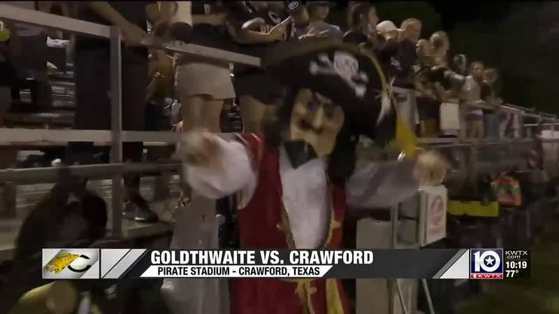 Crawford's mascot celebrates a win over Goldthwaite