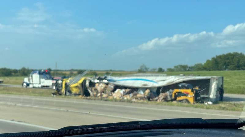 Wreck on I-35 near Abbott, Texas.