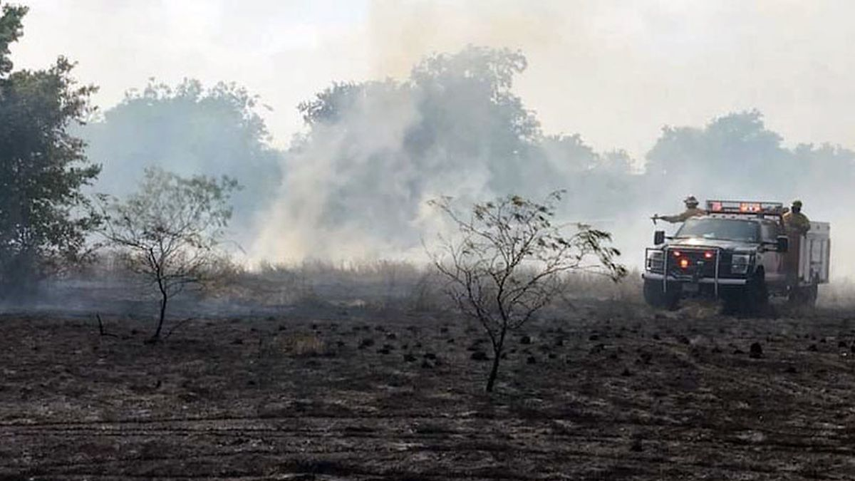 A wildfire scorched about four acres Wednesday behind Temple's First Baptist Church. (Temple Fire & Rescue photo)