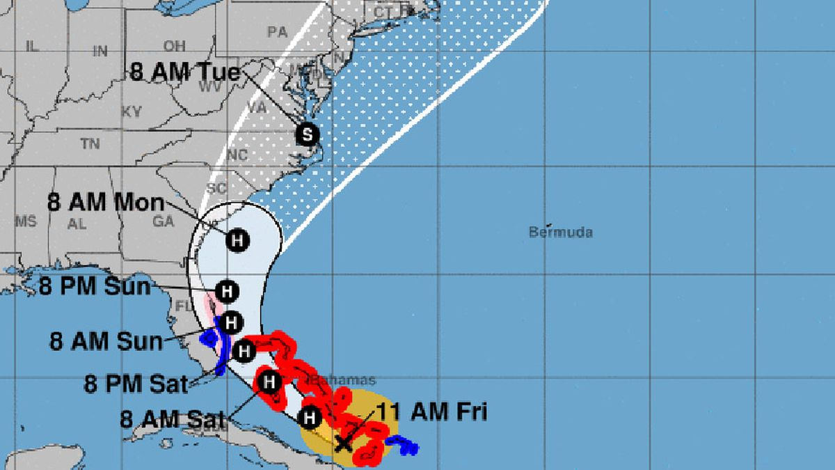Forecasters have declared a hurricane watch for parts of the Florida coastline as Hurricane Isaias drenches the Bahamas on a track for the U.S. East Coast.