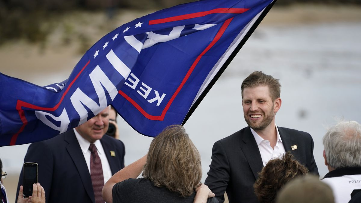 Eric Trump, the son of President Donald Trump, greets supporters at a campaign rally, Tuesday, Sept. 17, 2020, in Saco, Maine.